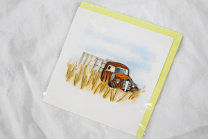 Quilling Card Wheat Truck