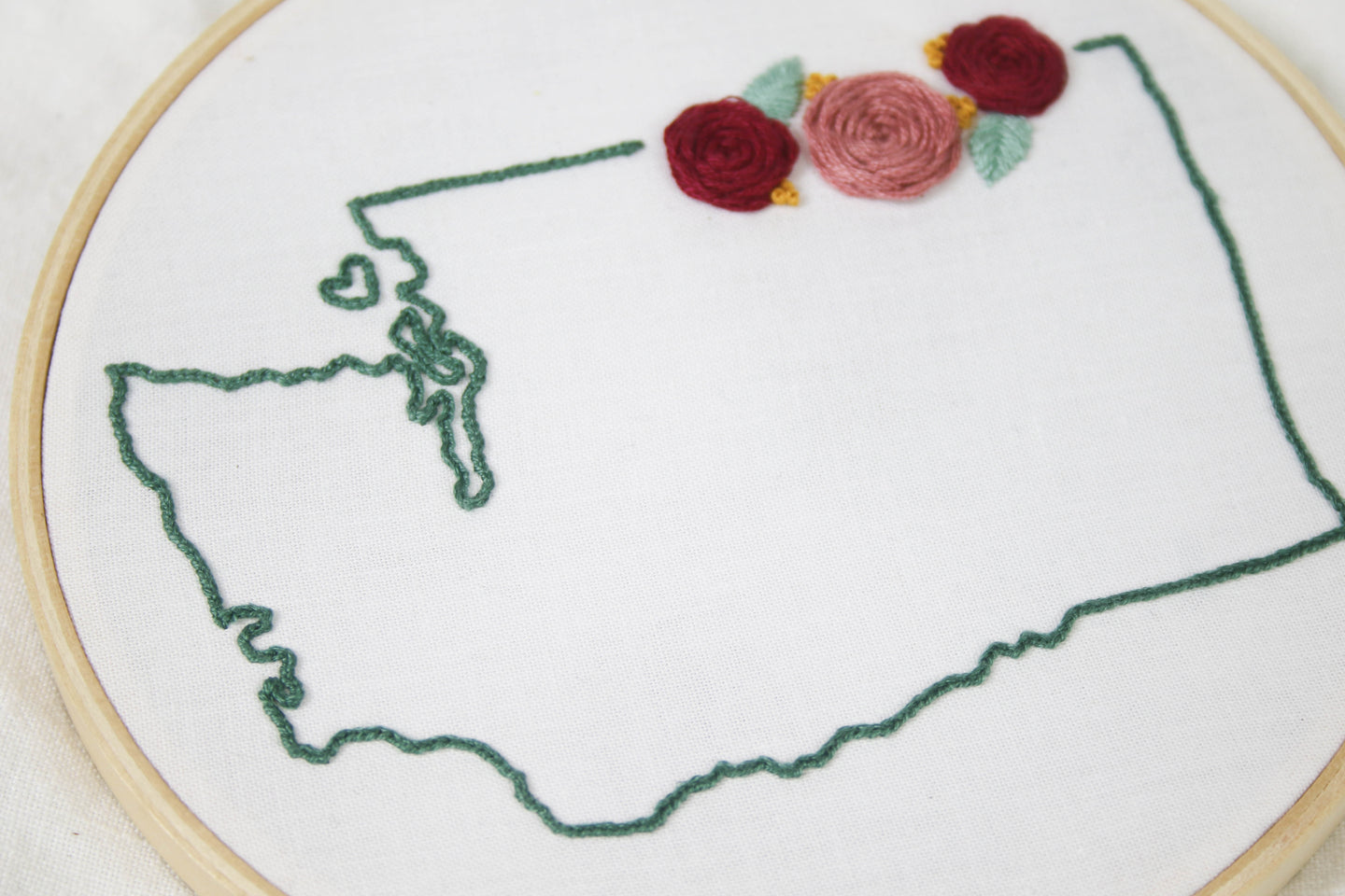 Hand Embroidered Washington State Hoop