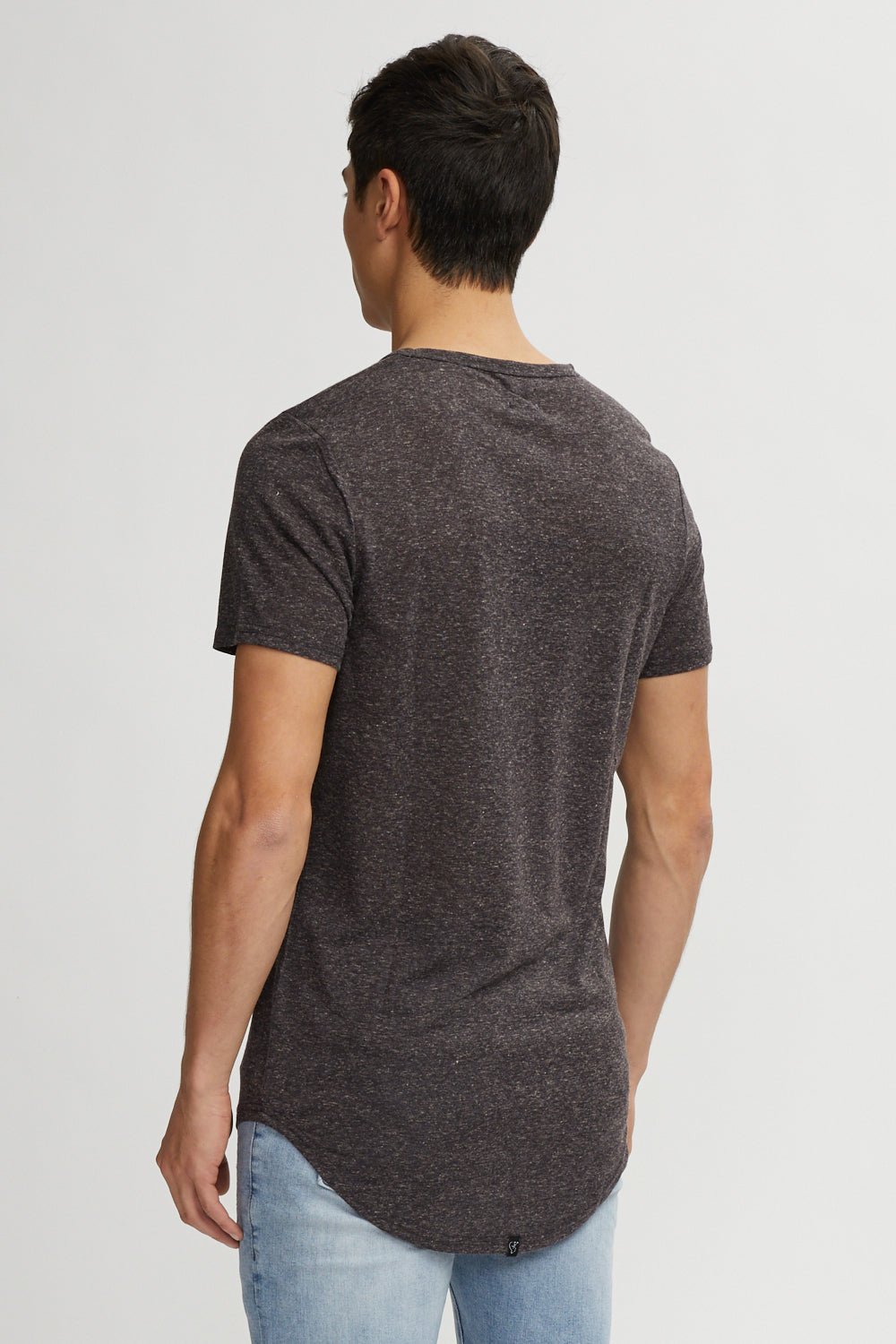 Linen Hi-Lo Tee Mix Black
