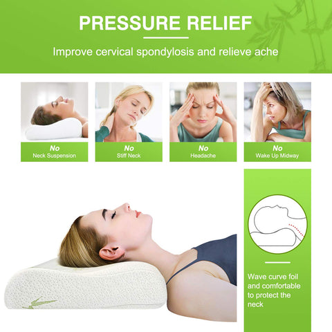 AMBRA Memory Foam Bamboo Pillow  for Neck Back Pain Prevention & Relief