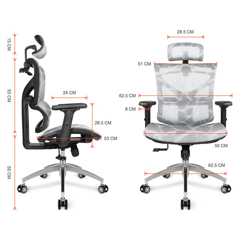 Grey Ergonomic Computer Desk Swivel Chair High Back Lumbar Support Headrest Adjustable