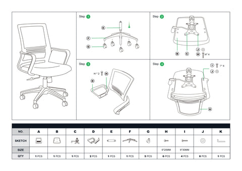 Replacement Screws Package For HomyLink Office Chair BARTONER