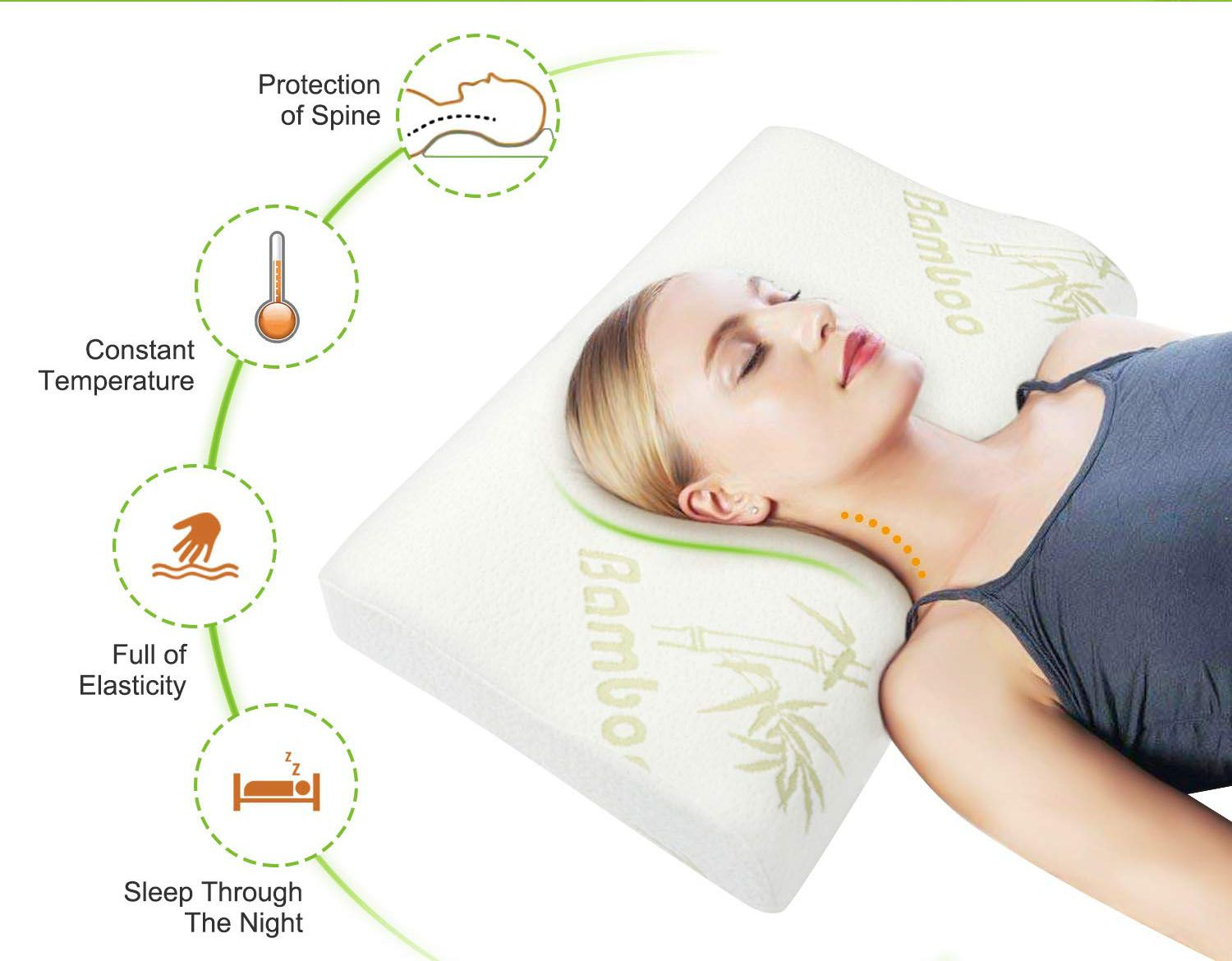Strong refreshing and breathable feel with bamboo pillow
