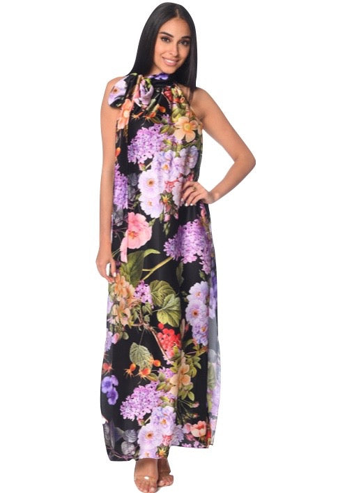Nana Dress Black Hydrangea Print