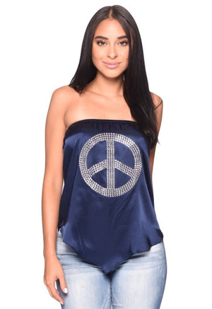 Love Tube top w/ Crystal Peace Sign