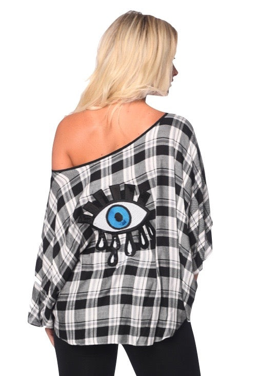 Ana Top blk/white Plaid Flannel