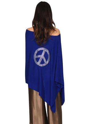 Ava Cashmere Poncho with Crystal Peace Sign