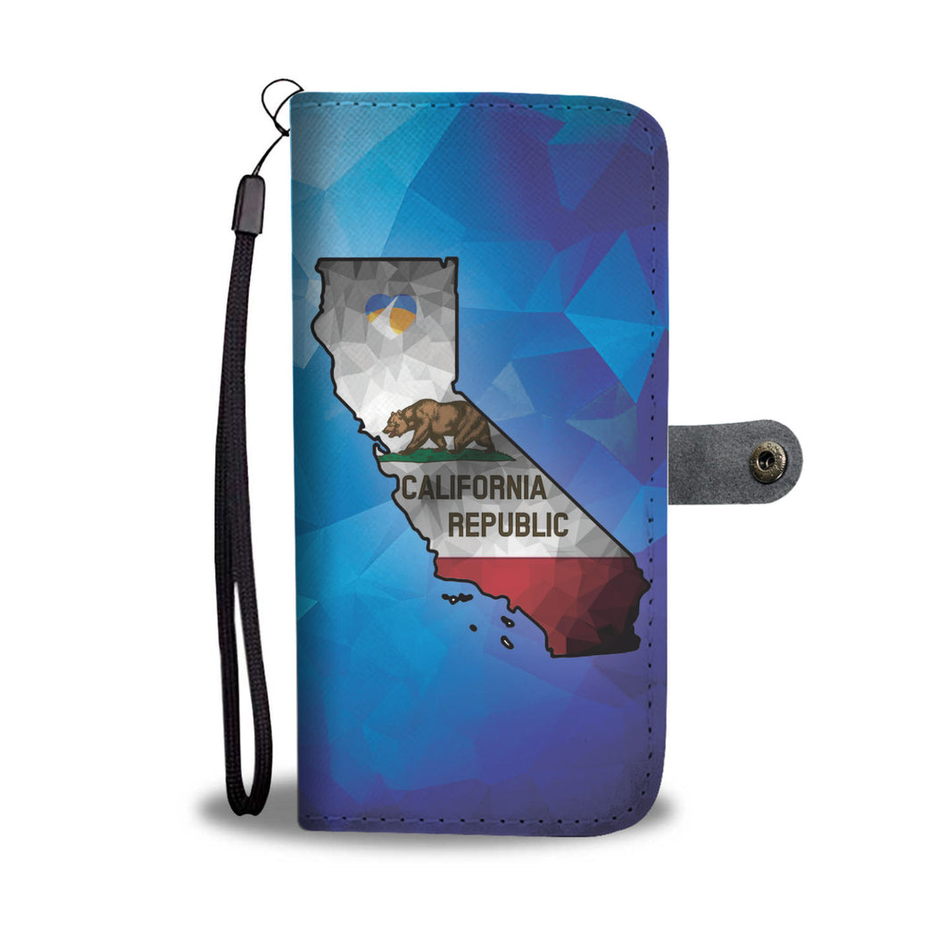 Polygonized Calif Map Wallet Case