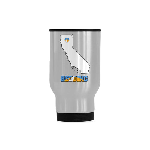 Redding California State Map Travel Mug (Silver, 14 Oz)