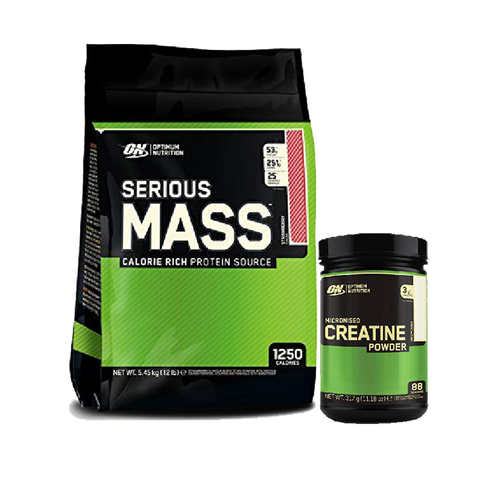 Optimum Nutrition Serious Mass 5.45kg Free 317g Creatine - gymstop
