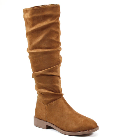 A flat tall boot that sits below the knee with partial inside zip entry. Featuring a slightly rouched imi suede upper with a stretch gore panel for a comfortable fit.