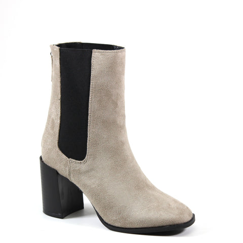 A Mid-Calf Imi Suede Bootie with a  double stretch side gore panel and back zip for easy entry.