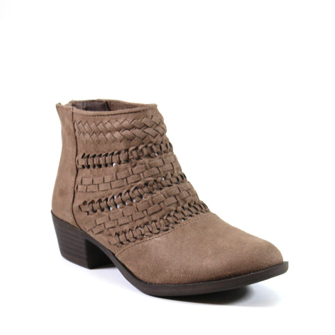 This vegan bootie by Diba London called LOOKIN GLASS  features an ankle high woven and braided upper in the perfect neutral taupe color, back zip for easy entry and a 2-inch heel.
