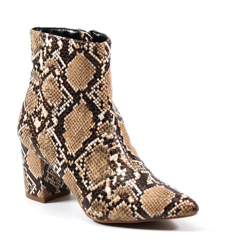 Ankle-high side zip boot with low block heel covered in a vegan snakeskin print complete with an almond pointed toe.