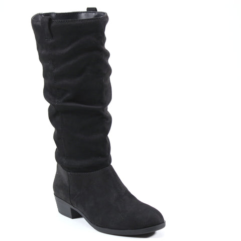 A slouchy shaft imi suede upper completes the below the knee full shaft boot that sits below the knee with slip-on pull tabs. A 1.5- inch heel and rounded toe make LAND FALL by Diba London a stylish staple to add to your wardrobe.