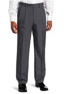 Savane Crosshatch Easy-Care Dress Pant Pleated Charcoal