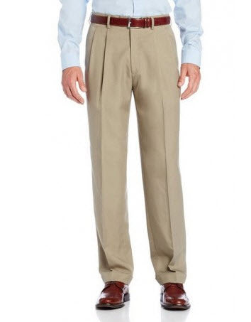 Savane Crosshatch Easy-Care Dress Pant Pleated Khaki