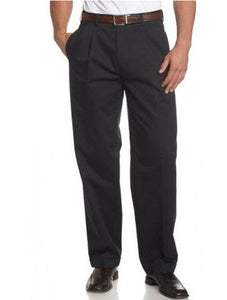 Savane Crosshatch Easy-Care Dress Pant Pleated Dark Navy