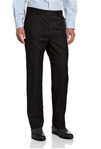 Savane Men's Flat Front Stretch Crosshatch Dress Pant Black
