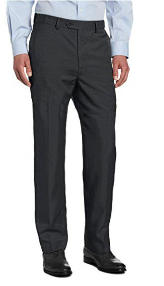 Savane Men's Flat Front Stretch Crosshatch Dress Pant Charcoal