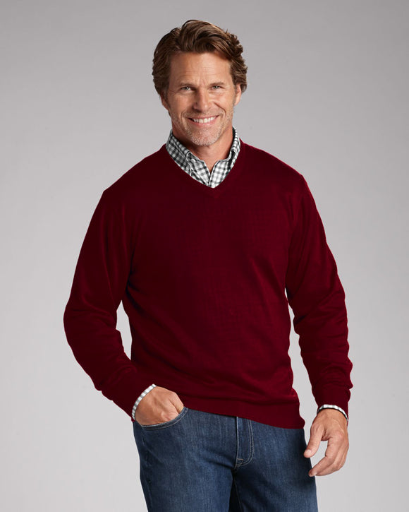 FX Fusion Burgundy V-Neck Sweater