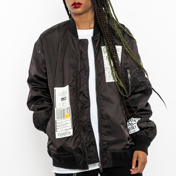 """No Apologies Bomber Jacket-Women"" Streetwear Bomber Jacket-Le Fruit Défendu NYC-streetwear jackets"