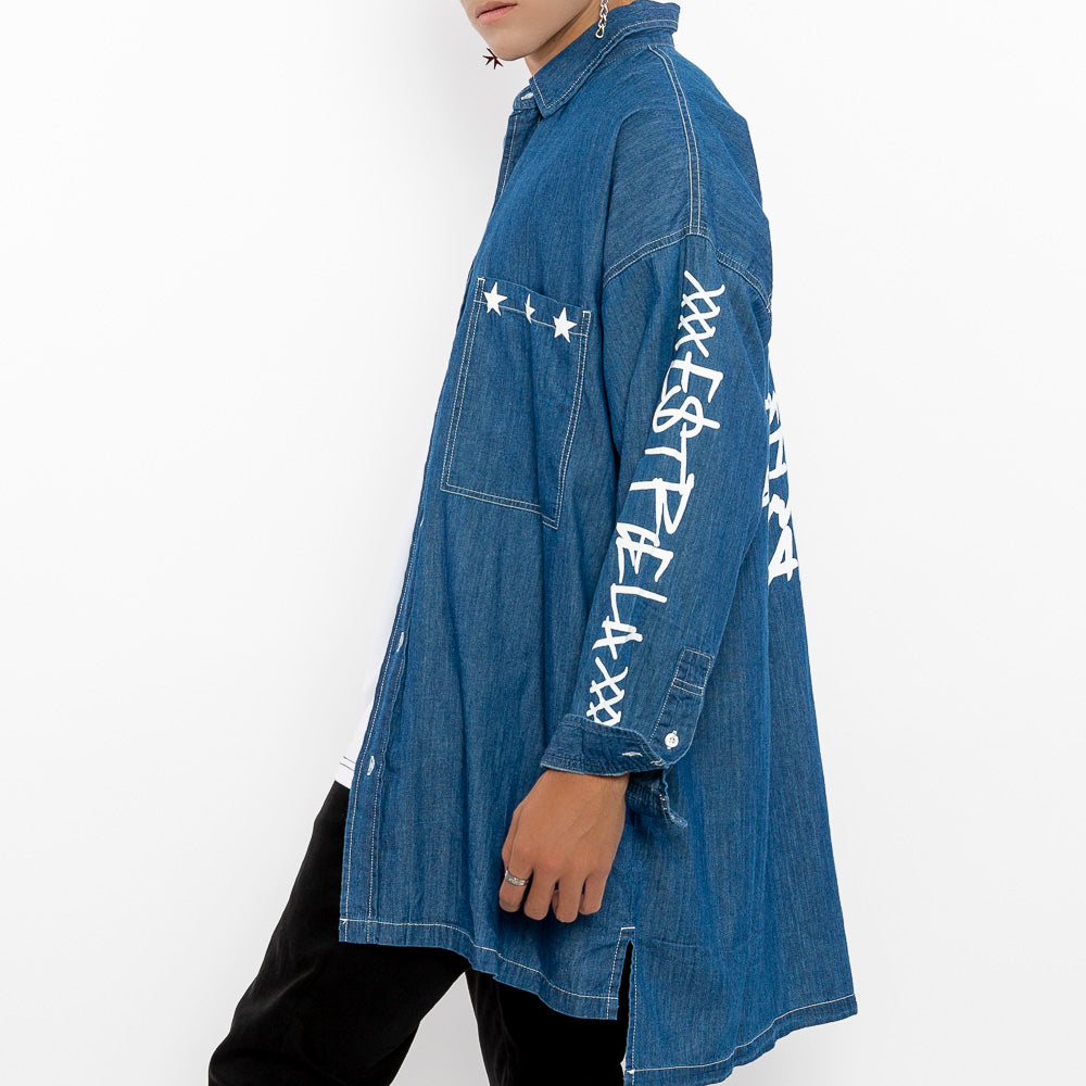 """Paradox Button-down Jeans-Blue Shirt""-Le Fruit Défendu NYC-mens streetwear"