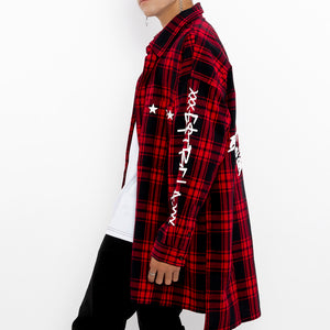 """Paradox Button-down Black-Red Shirt""-Le Fruit Défendu NYC-mens streetwear"