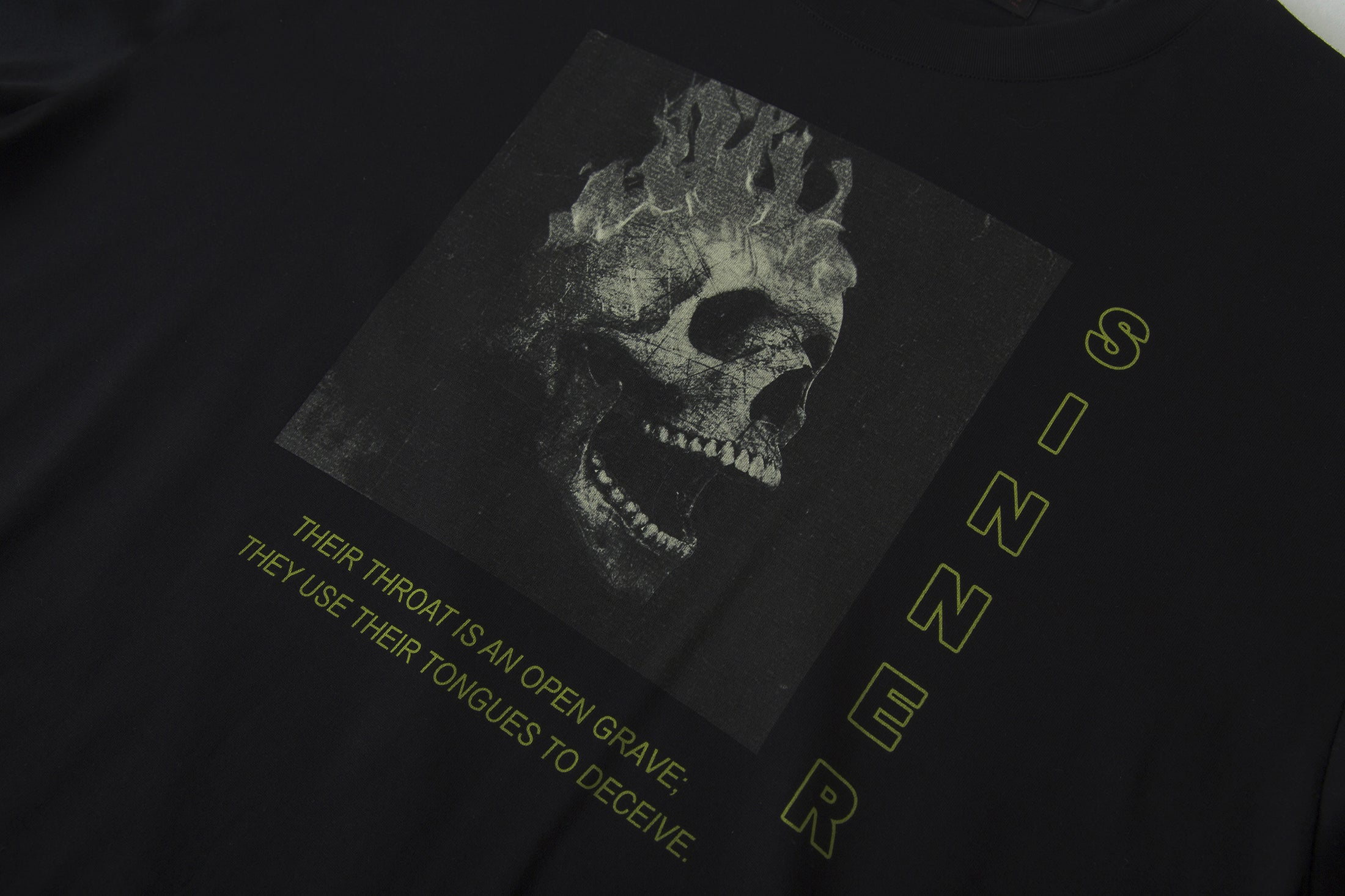 Load image into Gallery viewer, 'Sinner' Black Skull cotton T-shirt