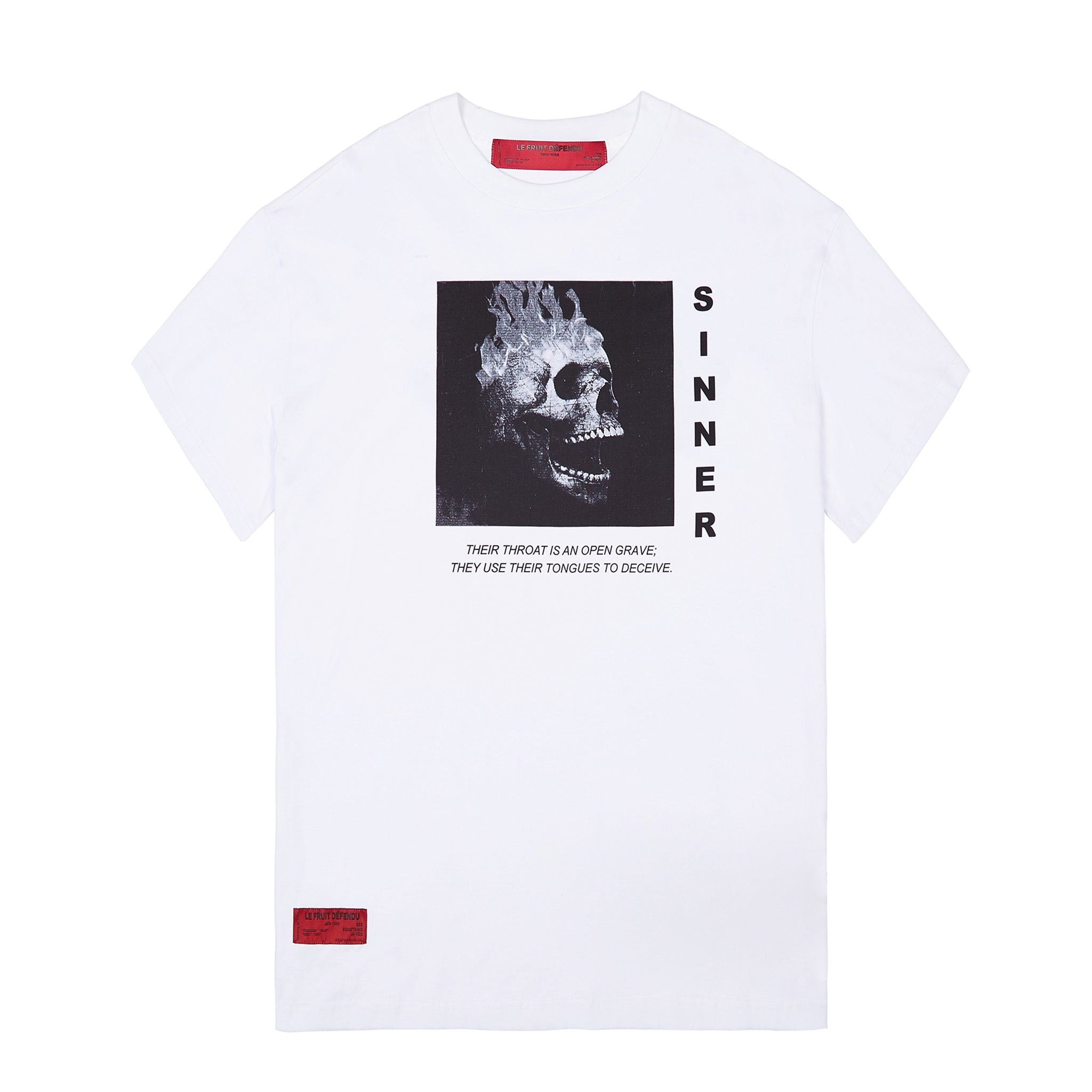 'Sinner' Black Skull cotton T-shirt White