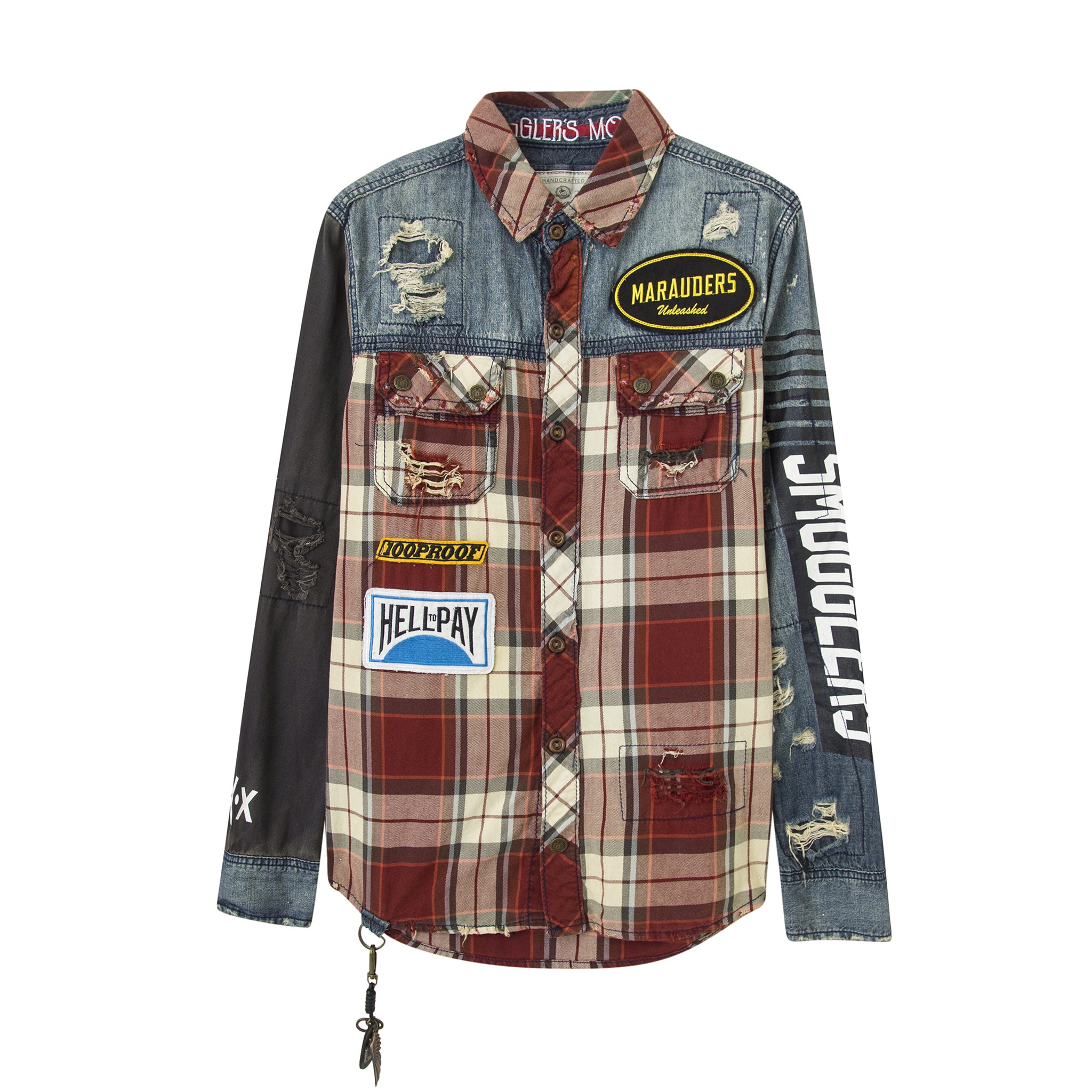 Marauders Distressed Denim and Plaid Mechanics shirt