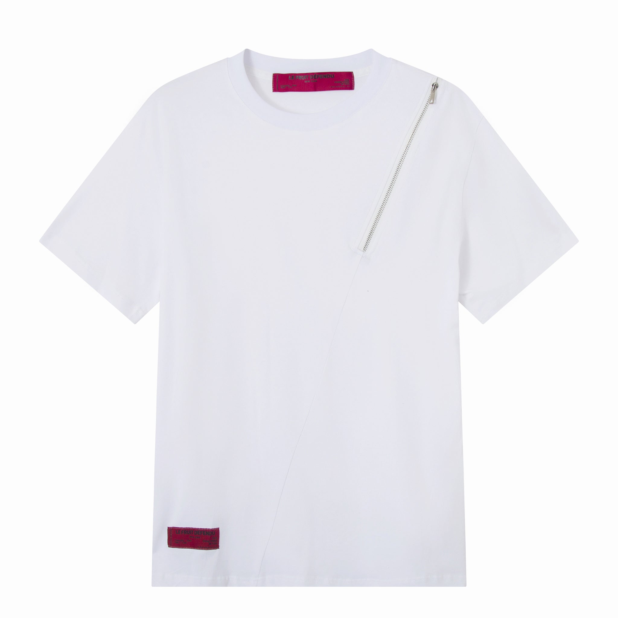 White Front Zip T-shirt
