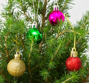 Mini pot grown Christmas tree (Multicoloured baubles)
