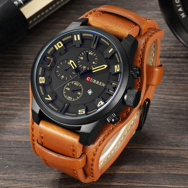 Casual Leather Quartz Wrist Watch Relogio Masculino 8225
