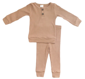2-PIECE COZY RIBBED SET / CAMEL