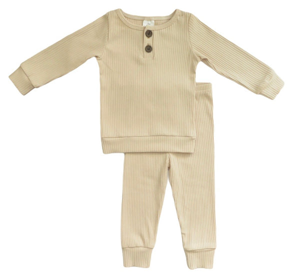 2-PIECE COZY RIBBED SET / ALMOND MILK