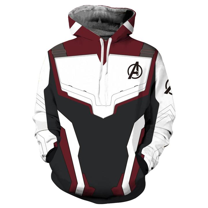 Avengers4: Endgame Quantum battle suit 3D pullover - Dark Red + white