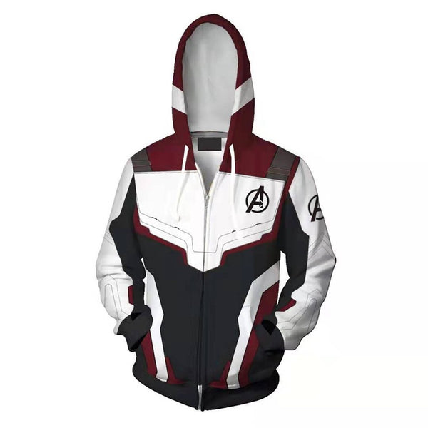 Avengers 4: Endgame Quantum battle suit 3D hoodie - Dark Red + white