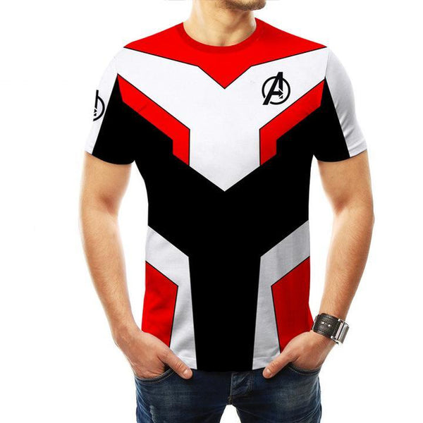 2019 Avengers 4: Endgame Quantum Printed Short Sleeve T-shirt For Kids and Adults - Red