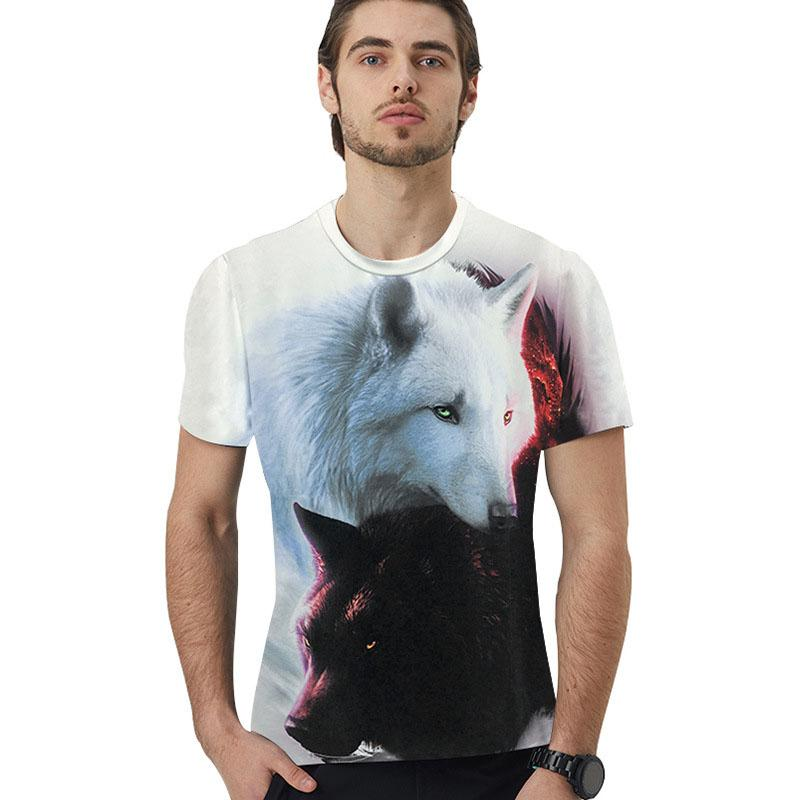 Wolf Yin Yang Fire Ice T-shirt