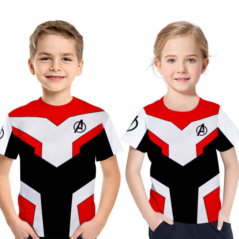 2019 Avengers 4: Endgame Quantum Printed Short Sleeve T-shirt For Kids - Red