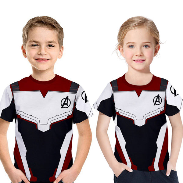 2019 Avengers 4: Endgame Quantum Printed Short Sleeve T-shirt For Kids - Dark Red