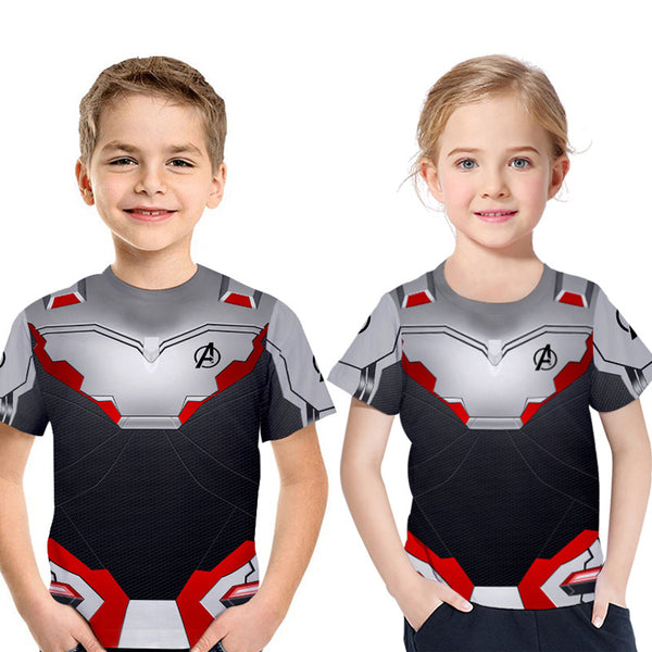 2019 Avengers 4: Endgame Quantum Printed Short Sleeve T-shirt For Kids - Grey