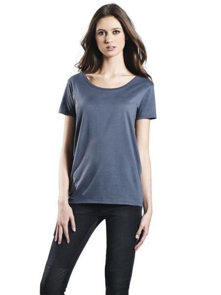 Woman in open neck t-shirt