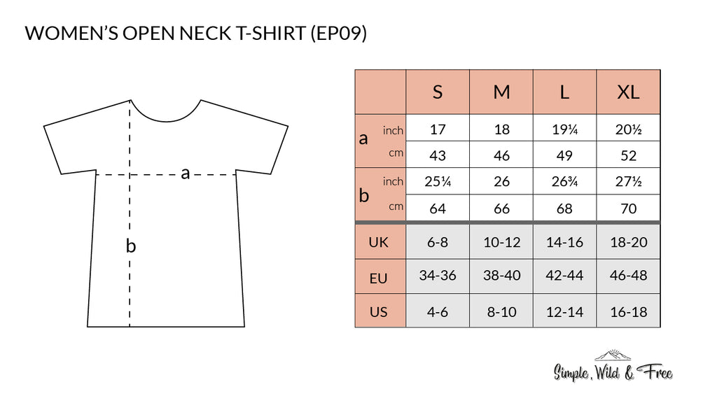 Size guide for women's t-shirt