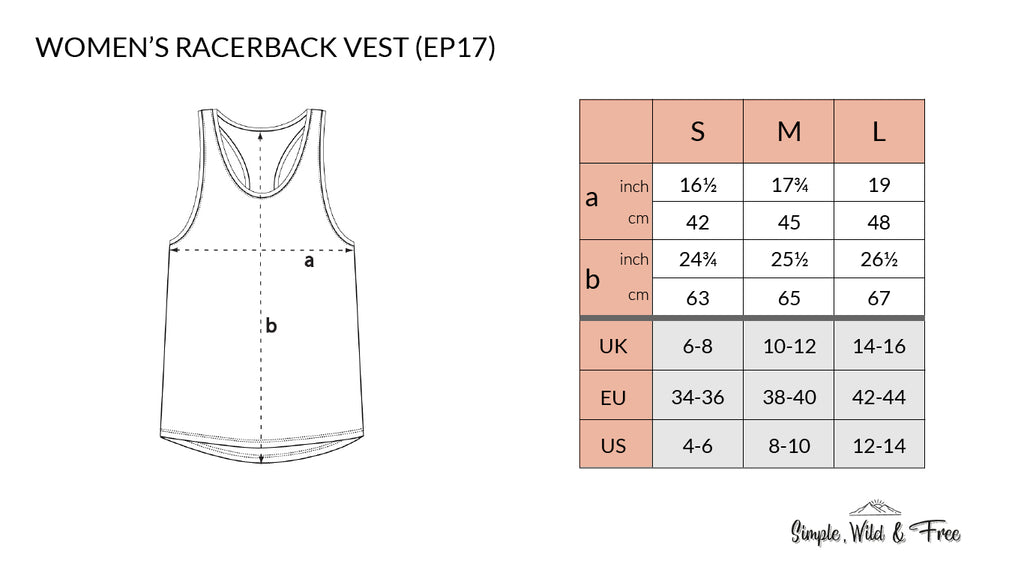 Size guide for women's racerback vest