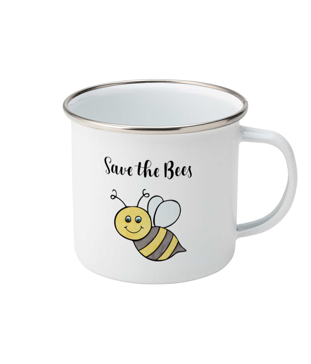 Save the bees design on a white enamel mug