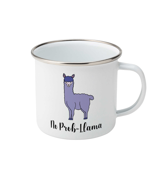 purple llama design on a white enamel mug