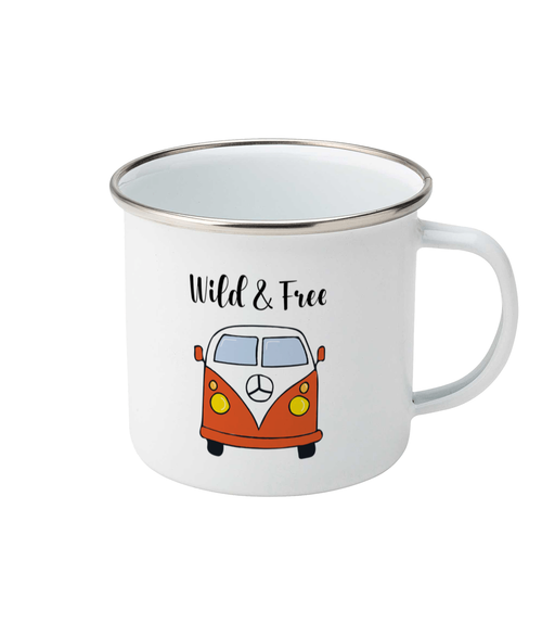 orange campervan design on a white enamel mug