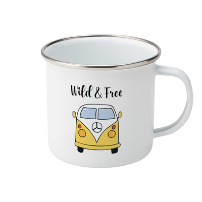 yellow campervan design on a white enamel mug